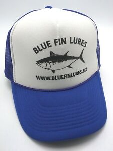 d340d26b5e3 Image is loading BLUE-FIN-LURES-trucker-style-blue-white-adjustable-
