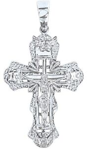 Anhaenger-Kreuz-Silber-925-rhodiniert-Serebro-Russian-orthodox-cross
