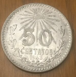 1959 MEXICO 50 CENTAVOS UNCIRCULATED AND CHOICE UNCIRCULATED+++ CONDITION