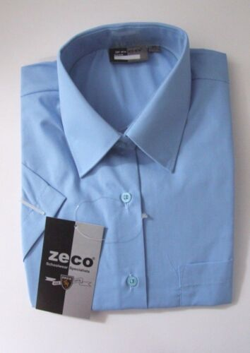 LadiesGirls ZECO Size 36in Short Sleeve School Uniform Blouse Tie Collar Blue