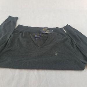New-Men-Polo-Ralph-Light-Weight-Sweater-2XB-Long-S-Grey-Pima-Cotten
