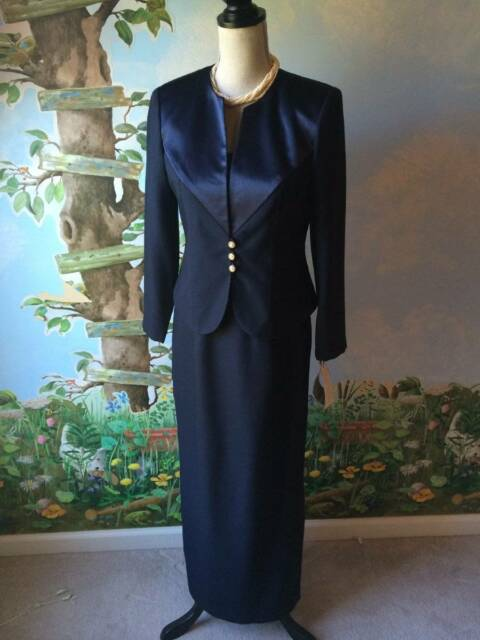J. R. Nite Women's 2 Piece Evening Mother of the Bride Blue Dress Size 6P NWT