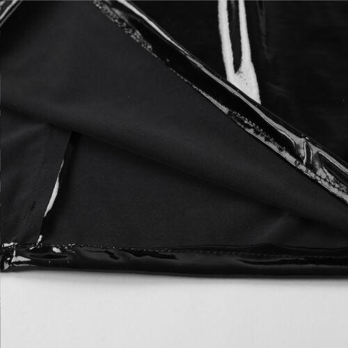 Damen Leder Optik Bodycon Mini Rock Kurz Bleistift Röcke Metallic Party Clubwear