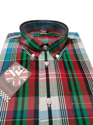 Warrior UK Inghilterra Button Down Maglietta coldo Camicia Slim-Fit skinhead mod