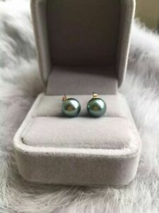 New-7-8mm-AAA-black-green-round-natural-tahitian-pearl-earrings-14k-gold
