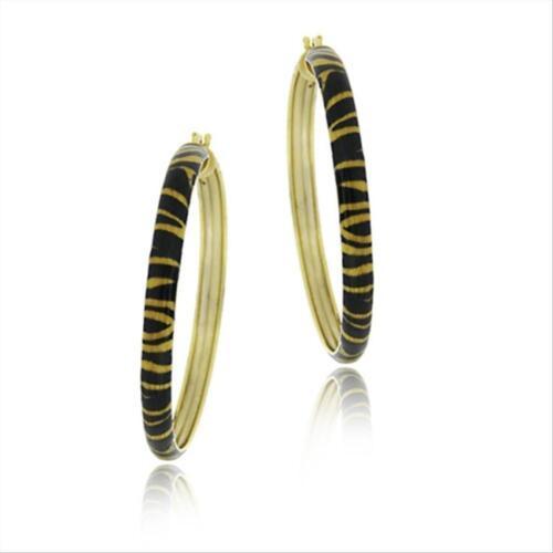 18k Gold Over 925 Silver Enamel Tiger Pattern 40mm Hoop Earrings