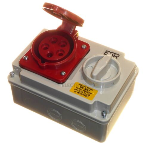 16 Amp 5 Pin Socket con bloqueo 3P+N+E 380-415V IP44 Rojo 3 fase 16A Nuevo