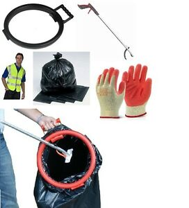 Litter Picker Set Bin Bag Hoop Gloves Hi Viz Black Bags