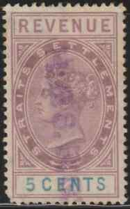 MALAYSIA-MALAYA-SS-1888-QV-REVENUE-5c-USED-A-CORNER-PULLED-ISC-CAT-RM-25