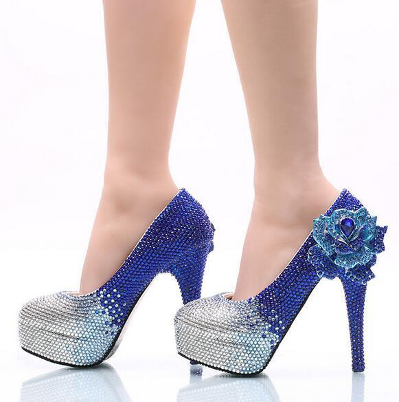 Women Grace Pumps Blue Rhinestone Flower Slim Heel Pumps Grace Wedding Party Sequin Shoes c0c58b