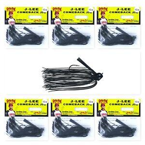 (6) Strike King 1/2 Oz J-Lee Comeback Football Head Jig Black JLCJ12-1 Brand New