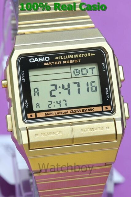 DB-380G-1D Japan Movt New Genuine Casio Watch New Model Gold Data Bank 100% Cas