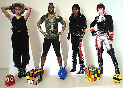 80s Party Decorations - 80s Stars Table Top Stand Ups - 42.5cm high