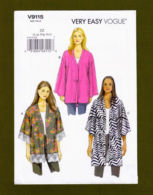 Kimono Jackets Sewing Pattern 3 Styles (sizes L XL Xxl) Very Easy ...