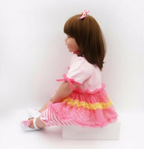 "Reborn Toddler Doll Girl Big Baby Realistic Handmade Lifelike Vinyl 24/""//64CM"