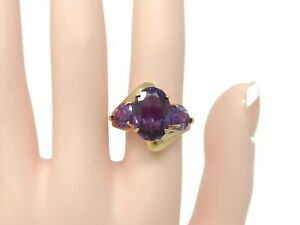 Estate-10K-Gold-Purple-Amethyst-Ring-Size-8-25-7-Grams