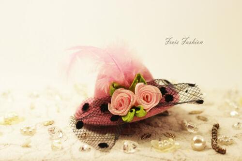 Haarklammer Haarspange 5cm Fascinator Mini Hut Feder Blume Haarschmuck K399a