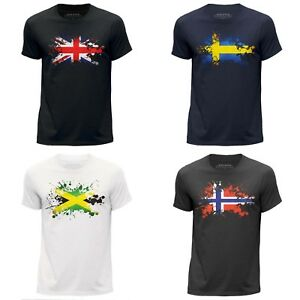 T-SHIRT-UOMO-NATION-Paese-Bandiera-Splat-Design-patriottico-Scollo-Tondo-Clothing