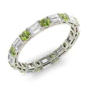 1.96 Ct Round Cut Diamond Engagement Peridot 14K White Gold Finish Eternity Band