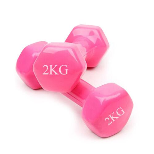2 Set Vinyl Hanteln Gymnastikhantel Kurzhanteln Hanteln Aerobic Fitness Pink