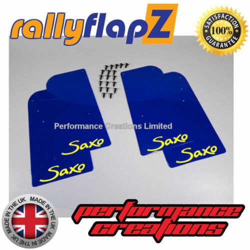 Pare boue Kit pour s/'adapter CITROEN SAXO Rally Bavettes logo bleu jaune X 4 RallyflapZ