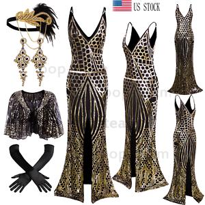 55d972d8c9c98 Mermaid Slit 1920s Flapper Dress Gatsby Party Long Formal Evening ...