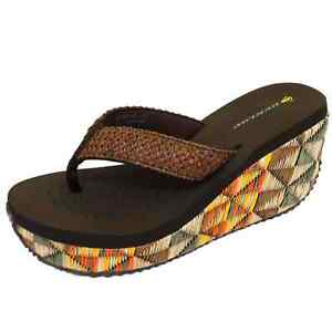 WOMENS-DUNLOP-SUMMER-BROWN-WEDGE-SANDALS-TOE-POST-HOLIDAY-COMFY-SHOES-3-8