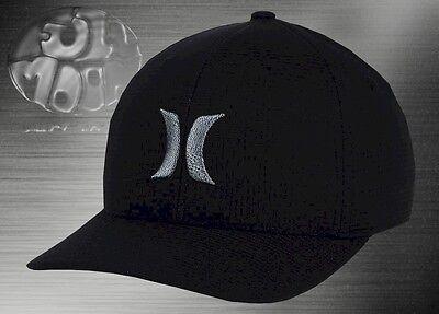 New Hurley Black Suits S16 Silver Mens Flex Fit Cap Hat