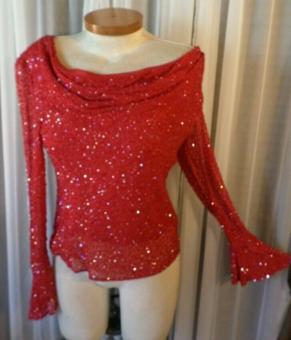 NWT NEW Lady Medium rot Silk Blouse Top Woman M Beads 8 Formal Long Flare Sleeve