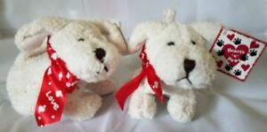 """Bonded Pair of Plush Hearts """"n"""" Paws Puppy Stuffed Animal Toys"""
