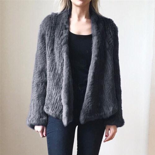 a per in vera in pelliccia vera Capispalla donna cappuccio pelliccia lavorata maglia con BqZwCqP