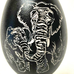 Hand Carved Elephant Duck Egg With Elephant Stand