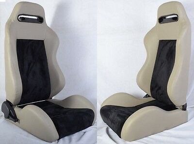 NEW 2 GRAY & BLACK PVC LEATHER RACING SEATS RECLINABLE w/ SLIDER ALL HONDA