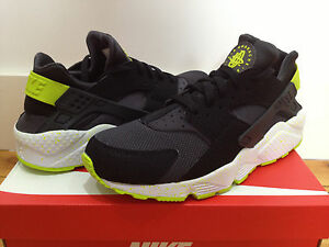 more photos 47f87 631c8 Image is loading NEW-NIKE-AIR-HUARACHE-034-BLACK-VENOM-GREEN-