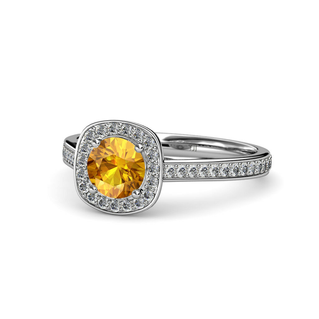 Citrine and Diamond (SI2-I1, G-H) Halo Engagement Ring 1.20 ct tw in 14K gold