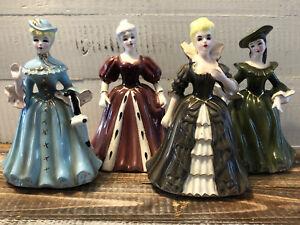Lot 4 Vintage Napco Lady Figurines A2628 Margaret Barbara Blonde Midcentury