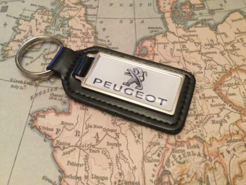 Peugeot Qualität Schwarz Echt Leder Schlüsselanhänger Rechteckig 1008 2008 3008