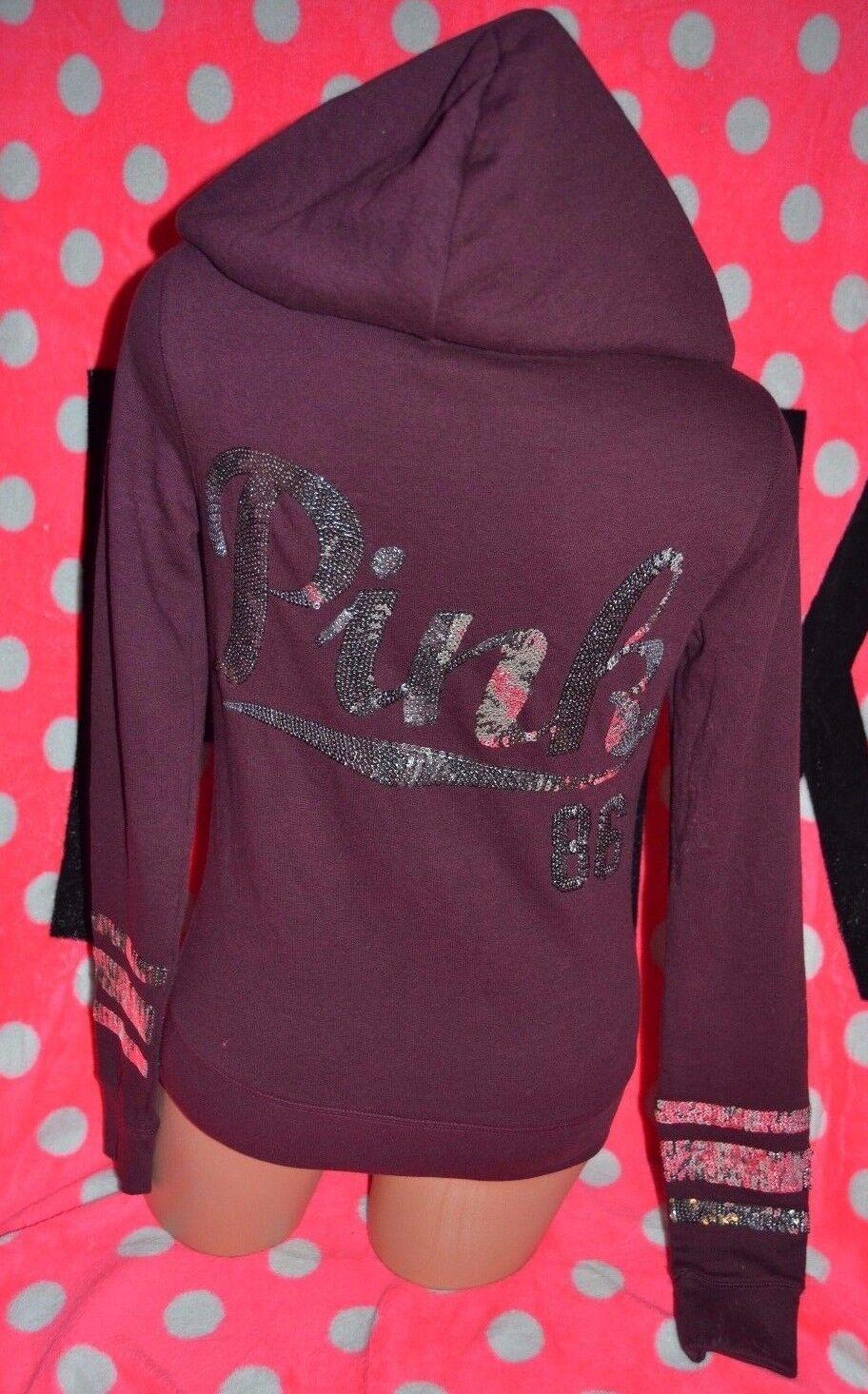 Victoria's Secret PINK Hoodie Full Zip Sweatshirt Sequin Maroon Red Bling XS new
