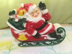 Vintage-Santa-Sleigh-with-2-Reindeer-Blow-Mold-Empire-Made-in-USA-13-x-11