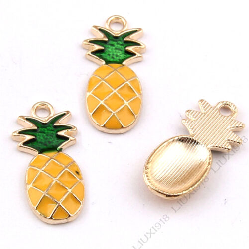 10x Enamel Gold Plated Pineapple Fruit Pendant Charm Jewelry Accessories 1008H