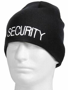 270cb709 Image is loading Embroidered-SECURITY-Winter-Skull-Cap-Rothco-Black-Acrylic-