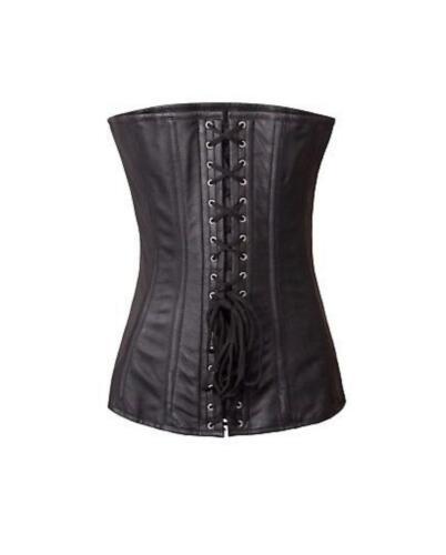 "Genuine Real Leather Black Full Steel Bone Heavy Lacing Corset Waist 24""-36"""