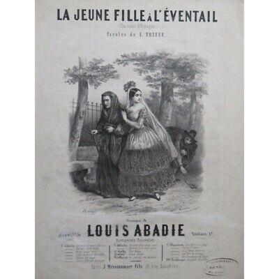 Abadie Louis Der Jungen Mädchen Bis L' Fan Gesang Klavier Ca1840 Trennwand Sheet NüTzlich FüR äTherisches Medulla