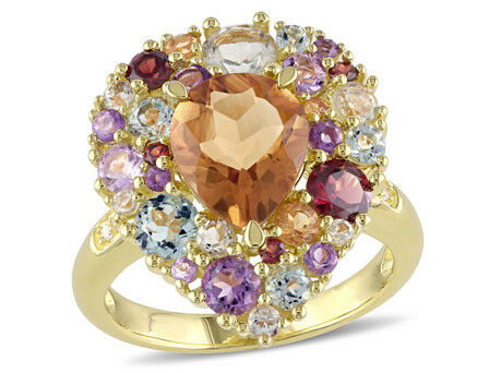 Amour Yellow Silver Multi-gemstone and Diamond Accent Cocktail Ring