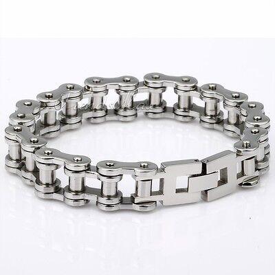 14/19/23MM Boy Mens Chain Silver 316L Stainless Steel Biker Motorcycle Bracelet