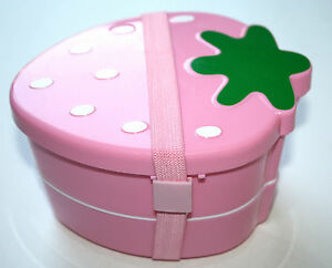 strawberry pink japanese bento lunch box with band us seller ebay. Black Bedroom Furniture Sets. Home Design Ideas