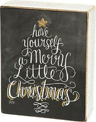 Have Yourself A Merry Little Christmas Sign.Primitive Wood Chalk Sign Have Yourself A Merry Little Christmas Shelf Wall Art Ebay