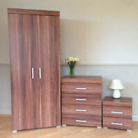 Bedroom Furniture Set Walnut Effect Wardrobe 4 Drawer Chest Bedside Cabinet