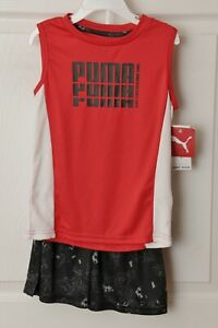 PUMA-Boys-Outfit-Shirt-amp-Shorts-2-Piece-Set-Size-5-Red-Black