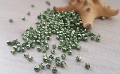 3 mm Sea Foam Metallic Fire Polish Czech Glass Beads50 Beads